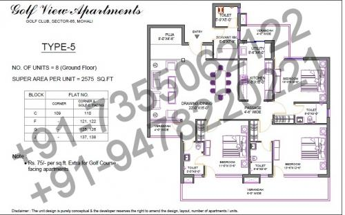 3 BHK (2575 Sq feet)