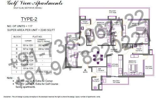 3 BHK Corner (2249 Sq feet)